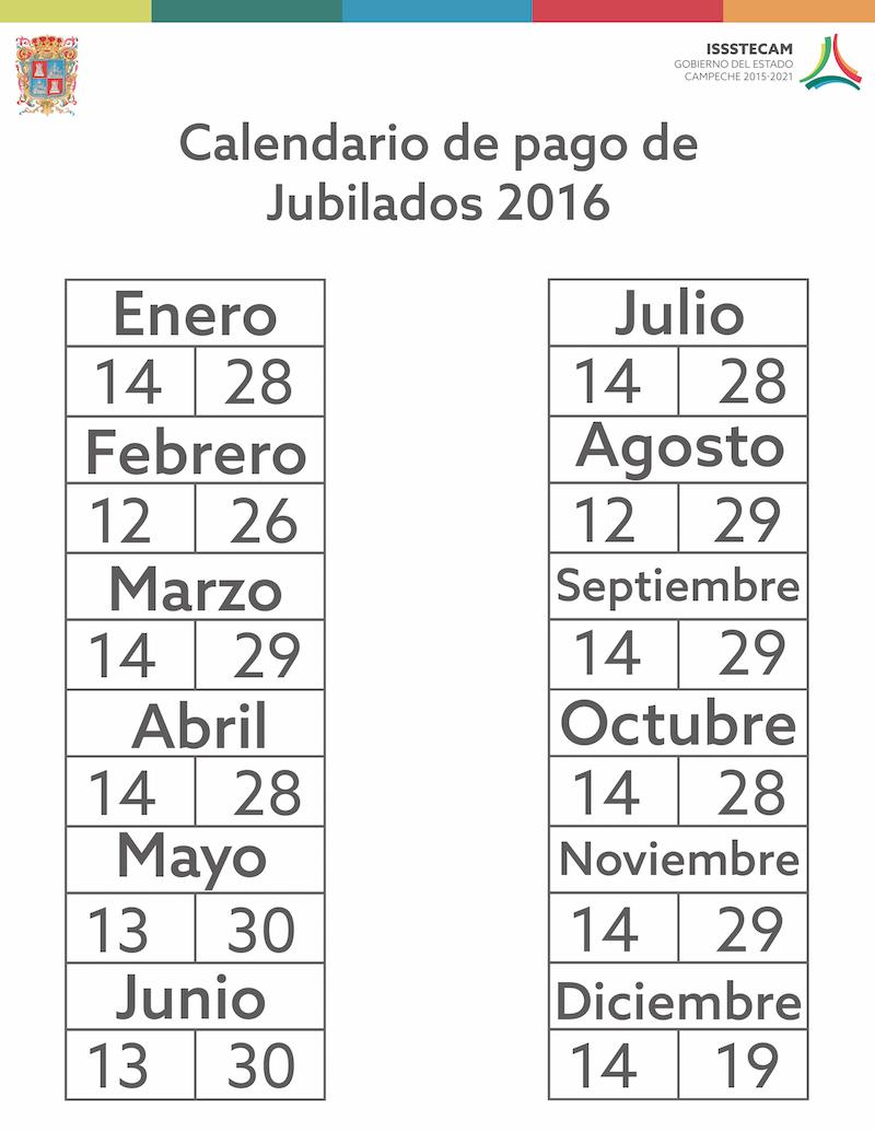 CALENDARIO pago de jubilados 2016